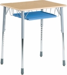 ZUMA Adjustable Height Hard Plastic Top Student Desk with Wire Book Basket and Pencil Tray [ZADJ2026BRTM-VCO]
