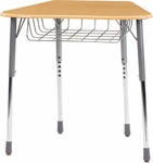 ZUMA Student Desk with Hard Plastic Trapezoid Top For Octagonal Groupings and Wire Book Basket - 30.5''W x 21''D x 22''H - 32''H [ZOCTBRM-VCO]