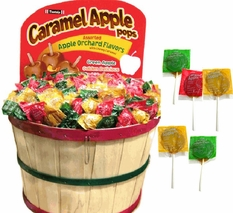 Assorted Caramel Apple Pops 1000 Count In Bushel Basket