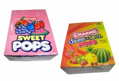 Charms Sweet & Sour and Charms All Sweet Lollipops 48ct