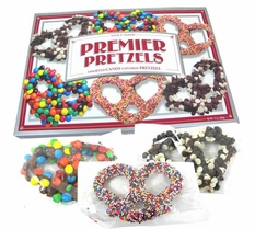 Premier Chocolate Covered Pretzels Assorted Toppings 13oz Box