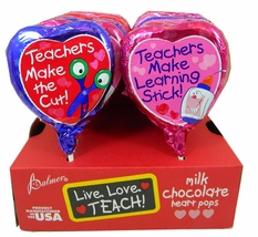 Chocolate Heart Lollipops For Teachers  18 Count