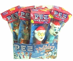 Christmas Holiday Pez Dispenser & Refill Candy 12ct