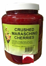 Crushed Maraschino Cherries Topping 1/2 Gallon Jar