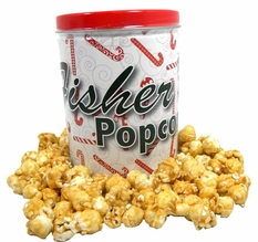 Fisher's Holiday Caramel Popcorn Tin Candy Cane