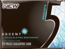 Five (5) Gum Ascent Wintermint 10pk