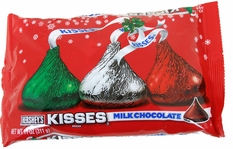 Hershey's Kisses Milk Chocolate 11oz Red & Green & Silver Foil