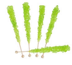 Lime Green Rock Candy Sticks Wrapped 30 Count