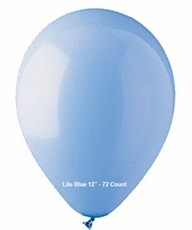 "Lite Blue Latex Balloons 12"" 72 Count"