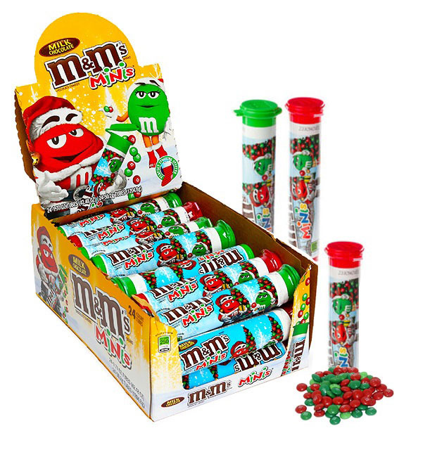 M&M Minis Christmas Tube Candies 24 Count
