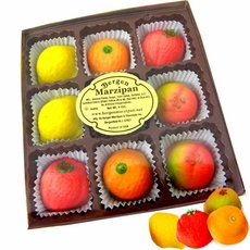 Bergen's Marzipan Fruit Candy 9 Count Gift Basket 4oz
