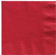 Red Beverage Napkins 3 Ply - 50 Count