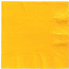 School Bus Yellow Beverage 3 Ply - Napkins 50 Count