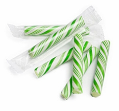 Sticklettes - Green & White Petite Candy Sticks- 250 Count (Lime)