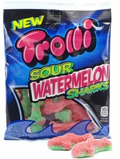 Trolli Gummi Sour Watermelon Sharks 4oz Bag