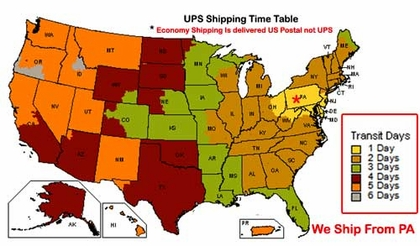 UPS Shipping Time Table & Return Info