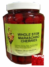 Whole Maraschino Cherries Topping With Stem 1/2 Gallon Jar