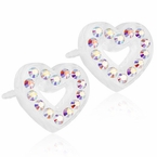 Brilliance Heart Hollow Rainbow Earrings