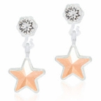 Medical Plastic Dangle Golden Rose Star Earrings