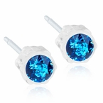 Hypoallergenic Medical Plastic Sapphire Earrings