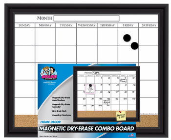 Black Framed Magnetic Calendar with Cork Strip 18x22