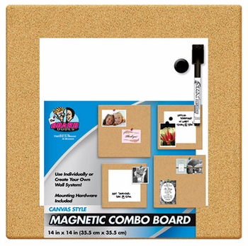 Cork Tile Magnetic Dry Erase Combo Board 14x14