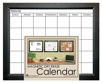 Home Decor Magnetic Dry Erase Calendar - Black 18x22