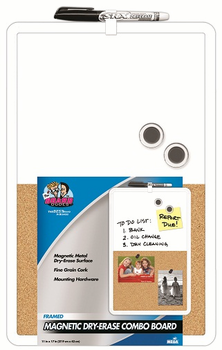 Plastic Framed Magnetic Dry Erase Combo Board 11x17