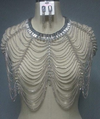 Nude Crystal Top with Cap Sleeves and Matching Earrings