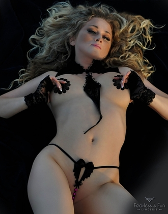Black Butterfly - Sexy Crotchless G String with Pearls