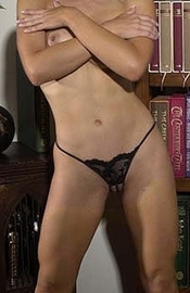 Sexy Scholar - Crotchless Pearl G String Panty