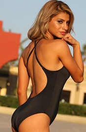 Boat Canyon Beach - Black One Piece Swimsuit