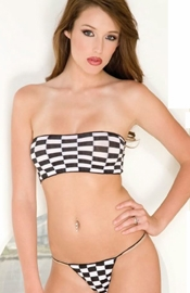 Checker Tube Top and String Thong