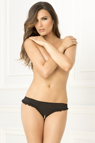 Crotchless Back-Latch Ruffle G-String