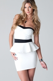 Evangelista - Tube dress with contrasting waistline and peplum