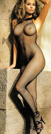 Fishnet, Lace Top, Halter Body Stocking, Open Front