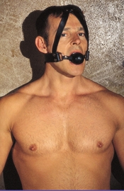 Gag With Rubber Ball and Leather Head Strap