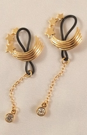 Gold Shooting Stars Non-Piercing Nipple Rings