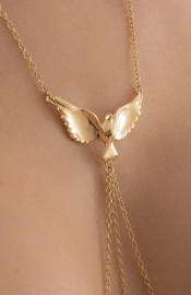 Gravity's Angel - Women's Dove Neck Chain with Pendant and Non-Piercing Nipple Rings in Gold