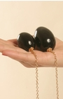 Insertable Black Egg with Gold Chain - Vaginal Anal Jewelry Ben Wa Balls