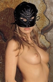 Leather Cat Eyes Head Mask with Rivets