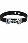 Leather Choker with Crystal Bow Tie