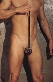 Leather Penis Tube wtih Penis Tip / Metal Base Ring with Leash