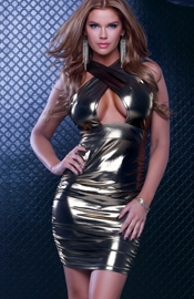 Miss Fortune - Gold Metallic Mini Dress