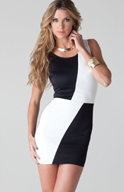 Moss - Colorblocked black and white mini dress