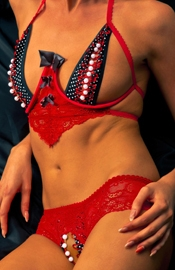 Play It Safe - Crotchless Bottomless Lingerie Set