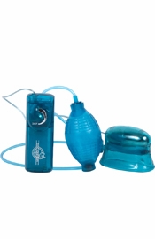 Pucker Up Vibrating Clitoral And Vaginal Pump Blue
