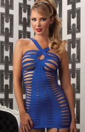 Roaring 20s - Blue Micro Mini Dress With Cutouts