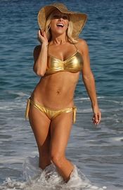 Russian Gulch Beach - Gold Lame Bikini