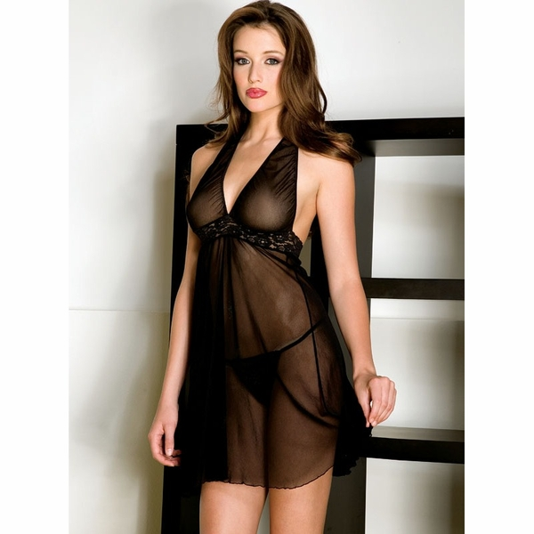 Sheer Halter Baby Doll & G String